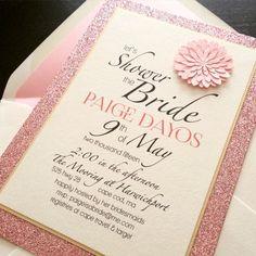 Wedding Bridal Shower Invitations - Pink Glitter - Floral