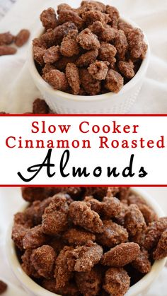 Slow Cooker Cinnamon Roasted Almonds are an easy and delicous treat, especially around the holidays. We love gifting them to neighbors too!
