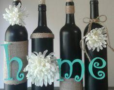 orange mum wine set wine bottle craft wine by BEaUtifullymade777