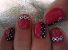 Polka dot ribbon nail art