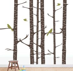 Birch forest birds  tree leaves branches peel & stick wall mural decal stencil sticker via Etsy