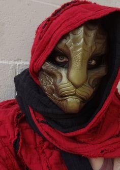 Dragoncat mask metallic brown-green by *missmonster on deviantART
