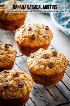 These chocolate chip banana oatmeal muffins are super easy to make. Filled with . These chocolate chip banana oatmeal muffins are super easy to make. Filled with oats, whole wheat f Banana Oatmeal Muffins, Banana Chocolate Chip Muffins, Banana Bread With Oats, Banana Whole Wheat Muffins, Best Banana Muffins Ever, Oatmeal Breakfast Muffins, Blueberry Oatmeal, Pumpkin Oatmeal, Healthy Banana Bread