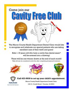 Join our Cavity Free Club @ the MCHD!