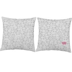 Set of 2 Bedtime Sheep Pillows - Sheep Print Pillow Covers with or without Cushion Inserts - Pink Sheep Print, Nursery Decor, Sheep Pillow