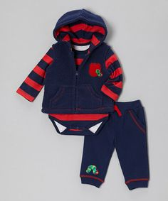 Take a look at this Blue & Red Apple Plush Vest Set - Infant by The World of Eric Carle on #zulily today!