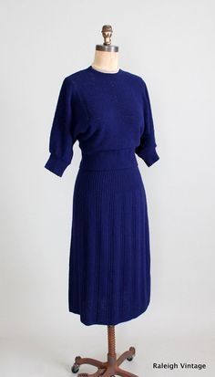 Vintage Late 940s / Early 1950s Blue Knit Sweater Skirt Set via Etsy.