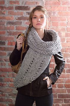 District 12 Cowl Wrap pattern from Lion Brand Yarn Crochet Cowl Free Pattern, Knit Or Crochet, Crochet Scarves, Knitting Patterns Free, Knit Patterns, Hand Crochet, Love Knitting, Hand Knitting, Finger Knitting