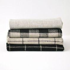 Fog Linen blankets from Neest. I love all watch plaids and herringbones. Linen Towels, Tea Towels, White Beige, Black And White, White Plaid, Fog Linen, Linen Cloth, Textiles, Kitchen Towels