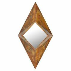 "Wall mirror with a faceted iron frame.     Product: Wall mirror  Construction Material: Iron and mirrored glass   Color: Copper   Features:   Can be hung vertically or horizontally    Inspired by the facets of a gem           Dimensions: 44.5"" H x 22.8"" W x 4.7"" D"