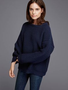 .09 Navy Chunky Knit Sweater found on Zady