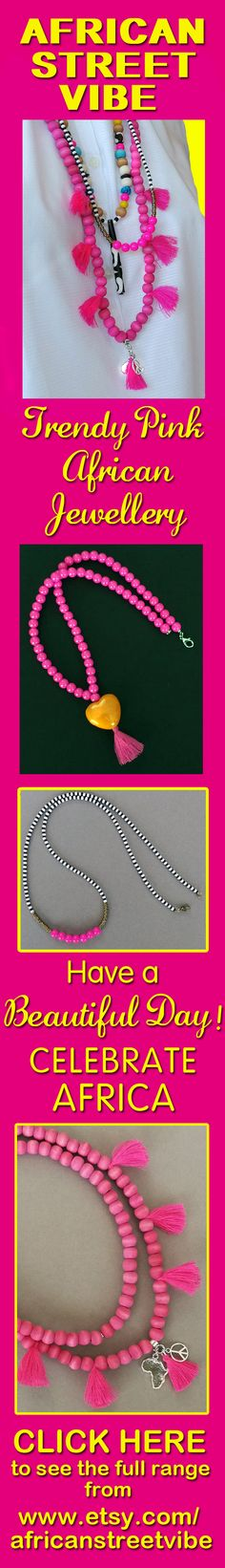 LOOK AT www.etsy.com/africanstreetvibe to see the full range of African street style necklaces, bracelets and bangles reflecting the joyous spirit of the South African Youth Choir at AGT.  #pink #necklace #jewellery #gift #jewelry #fashion_accessories #African #africanstreetvibe #boho #ethnic #charm_necklace