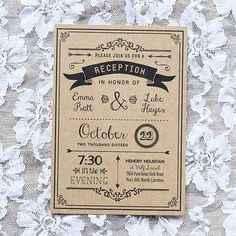 32 Unique Wedding Reception Invitation Examples Stock - You've had a terrific idea already, in having a calligrapher hand-write the invitations. Reception Only Invitations, Vintage Invitations, Diy Invitations, Wedding Invitation Wording, Invitation Design, Reception Card, Wedding Cards, Diy Wedding, Trendy Wedding