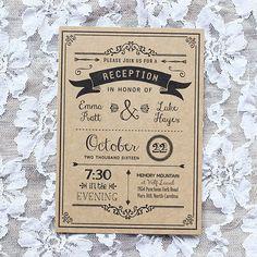 Black DIY Reception Only Invitation – Sample Printed on Kraft Paper