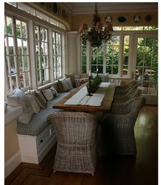 THESE are the windows I wanted in my dining room!  Love the wicker, hubby doesn't.  Love this look!