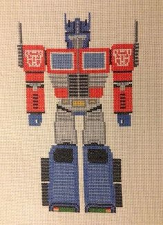 Optimus Prime Cross Stitch - Free pattern from Pixel Power Design!