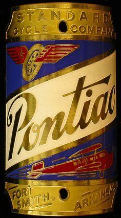 Pontiac: Fort Smith, Arkansas, USA. 1930s? Brass, 70mm tall. Standard Cycle Company.