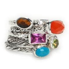 Lori Bonn Mixed Stone Stackable Ring Set #VonMaur