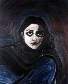 """""""Self Portrait"""" & """"Red Head"""" by Deepti Naval """"I think I'm best at self portraits and I paint the faces hard, lonely and morbid. Deepti Naval, Self Potrait, Vampire Bites, Coven, Textures Patterns, Oil On Canvas, Pattern Design, Mona Lisa, Weird"""
