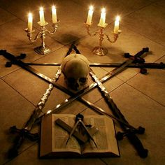 Masonic symbology, Sacred Volume of Law, Square and Compass (points elevated) 6 burning tapers of Divine Light burning at the apex of Ascending Energy, central skull can denote death being the abyss we must all traverse (daath / Qlipoth/ Kabbalah) or the conquering/transcendence of death.