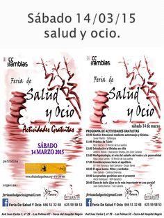 Este fin de semana además de nuestras actividades infantiles tenemos: el Sábado 14 Feria de SALUD Y OCIO.