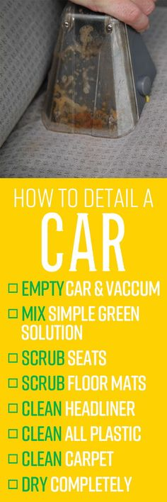 Sometimes procrastination gets the best of us, and the weekend cleaning job on the family car turns into the monthly cleaning job, which might lead to even further delays as life's bigger priorities get in the way. But eventually those spills, buildups of gunk, foul odors and clutter will need to be cleaned. Car Cleaning Hacks, Daily Cleaning, Cleaning Solutions, Sparkling Clean, Clean Microfiber, Professional Cleaning, How To Clean Carpet, Priorities, Clutter