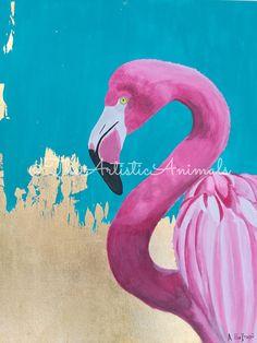 Canvas print of original painting Animal painting Flamingo