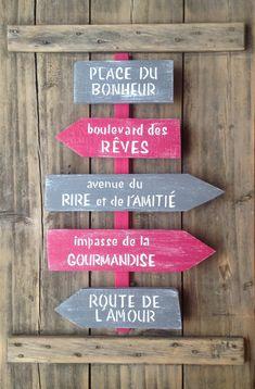 Sur commande panneau de direction personnalisable avec flèches en bois de palette : Décorations murales par littlepalette