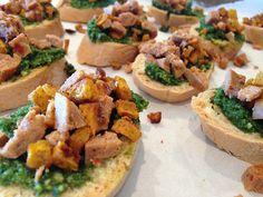 Recipe: Gluten-Free Pumpkin Sausage Kale Pesto Crostini  http://wheatfreemom.com/blog/recipe-gluten-free-pumpkin-sausage-kale-pesto-crostini/