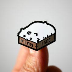 If I Fits I Sits White Cat Enamel Pin - Gift for Crazy Cat Ladies If I fits I sits!This is a hard enamel pin of cute loaf shaped cat inside a box one size too small.Perfect gift for the crazy cat lady in your life.Dimensions: x Cat Gifts, Cat Lover Gifts, Cat Lovers, Grillz, Crazy Cat Lady, Jacket Pins, Cat Pin, Hard Enamel Pin, Pin Enamel