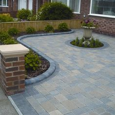 "Exceptional ""patio pavers design"" info is available on our web pages. Take a look and you wont be sorry you did. Front Garden Ideas Driveway, Driveway Design, Driveway Landscaping, Modern Landscaping, Patio Design, Garden Design, Driveway Entrance, House Design, Block Paving Driveway"
