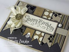 "I used the Mocha Morning Specialty DSP, Crumb Cake & Very Vanilla Card Stock, Basic Black Textured Card Stock, Very Vanilla 1/2"" Seam Binding Ribbon, Antique Brads, Vanilla Shimmer Smooch Spritz, Large Basic Pearls and the Perfectly Penned Stamp Set."