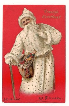Santa Father Christmas Postcard 1905 1 of 4 Card Series White Robe with Gold | eBay