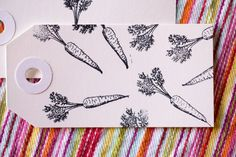 Mini Carrot Stamp – 1.5 inch x .5 inch stamp – hand drawn carrot, carrots – produce & farm branding – carrot stamp