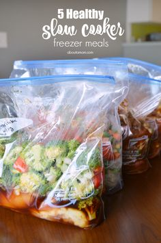 Need healthy and easy prepare meals for busy weeknights? Here are recipes for 5 healthy slow cooker freezer meals. AD  #BHGHealthy