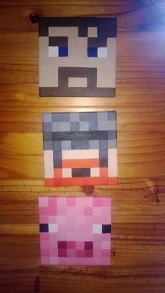 Yogscast Simon, Lewis & Pig Minecraft Canvas Acrylic Paintings