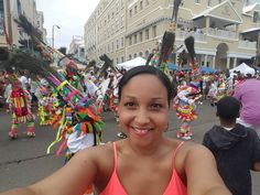 The coolest selfie is when you have  the Gombeys dancing behind you! Ayo! Ayo!! #24ofMay #May24 #bermuda #wearebermuda #host #MC #frontstreet #parade #gombeys by powergirltrina