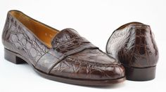 Polo Ralph Lauren Brown Crocodile Alligator Slip On Loafers US 8 D #PoloRalphLauren #LoafersSlipOns