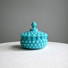 Turquoise Blue Hobnail Milk Glass Candy Dish by Fenton Low Form, 1950s