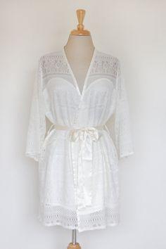 Aimi Full Lace Silk Satin Ivory Robe, Bridal Robe, Wedding Gift, Kimono Robes, Lounging Robes, Getting Ready, Anniversary Robe