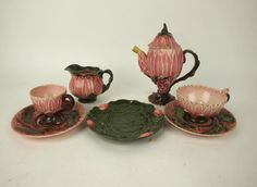 Majolica Tea Pot, Creamer Cups and Saucer, Demitasse, Fruit Plate. Fruit Plate, Library Design, Wedgwood, Earthenware, Cup And Saucer, Tea Pots, Auction, Victorian, Pottery
