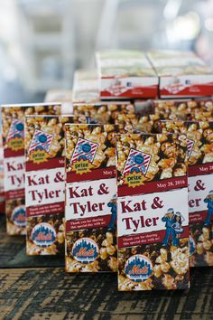 Customized cracker jack boxes, snack food wedding favors, edible treats, popcorn // Erin Kling Photography