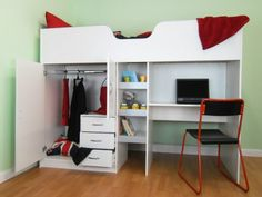 High Sleeper Cabin bed, with Colour options ideal kids safe bed with wardrobe and desk Bourne Small Room Interior, Small Room Bedroom, Kids Bedroom, Bedroom Decor, Boys Cabin Bed, High Sleeper Cabin Bed, Cabin Beds For Teenagers, Bed With Wardrobe, Wardrobe Closet