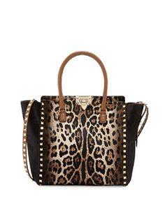 Valentino Rockstud Calf Hair Medium Shopper Tote Bag, Leopard
