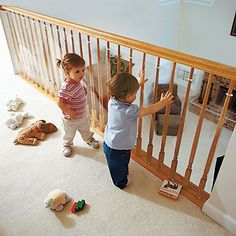 Clear Banister Guard Yet another amazing safety solution that One Step Ahead offers. Keep little man from falling from, getting suck in or throwing things over the banister. This is a must have for our house.