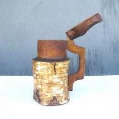 Primitive Adirondack Birch Bark Covered Mug by SugarLMtnAntqs