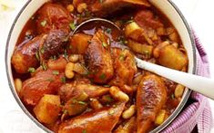 Sausage casserole recipe - sub for quorn sausages Sausage Recipes, Pork Recipes, Slow Cooker Recipes, Cooking Recipes, Healthy Recipes, Recipies, Healthy Food, Spicy Sausage, Simple Recipes