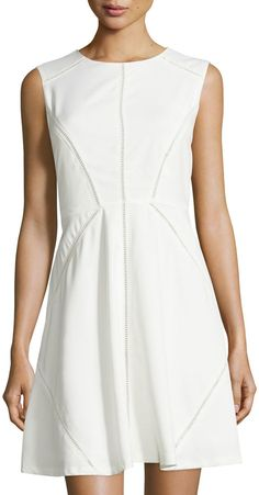 Neiman Marcus Crochet-Trim Sleeveless Fit-&-Flare Dress, Off White
