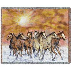"""Sunset Run (Horses)   Tapestry Blanket   70"""" x 54"""""""