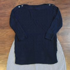 """J. Crew boatneck summer sweater This Navy J. Crew linen boatneck sweater is adorable and a basic for your closet. Button detail at shoulders and side slits in both sides at waist (4"""" slits) Pair with white shorts or seersucker Capri and you're ready! J. Crew Sweaters"""